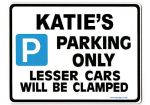 KATIE'S Personalised Parking Sign Gift | Unique Car Present for Her |  Size Large - Metal faced